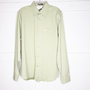 Men's Volcom Skater Button Down Green Shirt Large